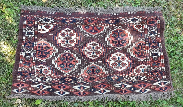"Turkmen Chodor chuval. 19th century. Great colors and design details. Measures 108x62 cm (3'7""x 2')."