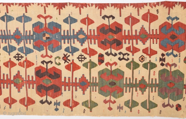 18th Century Central Anatolian Konya Kilim size 74x354 cm Please contact for future images and information