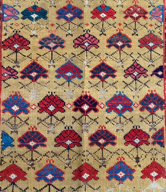 Yellow Field Shirvan Rug circa 1870 size 110x160 cm