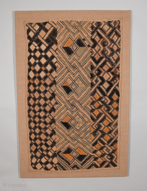 "African Kuba-Shoowa, prestige cloth, size 21"" x 31"" (53 x 78 cm), excellent condition, clean with no surface wear, damage, or stains, professionally mounted."