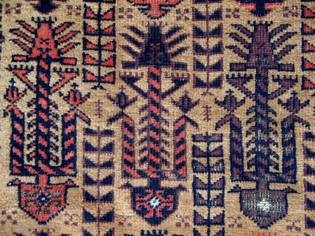 """Baluch prayer rug, Northeast Persia, 36"""" x 64"""" (91 x 162 cm),circa 1880. This rug appears to be earlier than many of the published examples. Its field display of zoomorphic figures is  ..."""