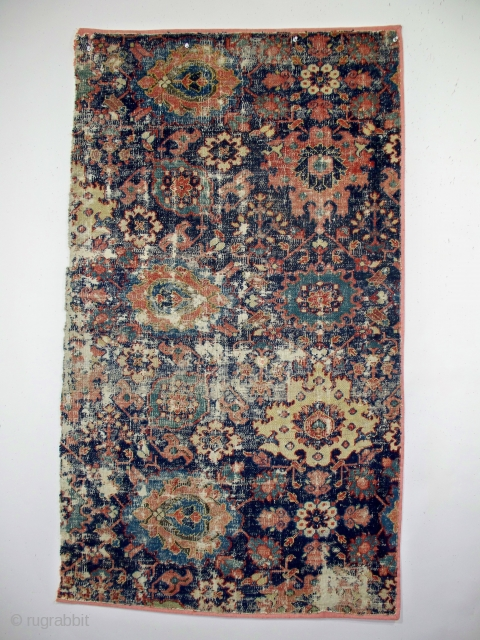 "18th century northeast Persian rug fragment (401), 30"" x 52"", the weaving was washed and professionally mounted."