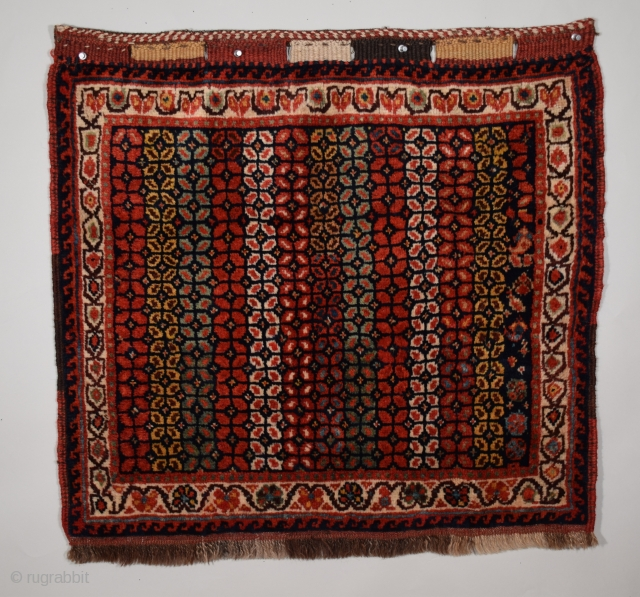 "Luri (Lori) bag face, 28"" x 28"" (72 x 71 cm), a kaleidoscope of brilliant color brings life to the simple floral theme, the pile wool is soft, thick and of medium  ..."
