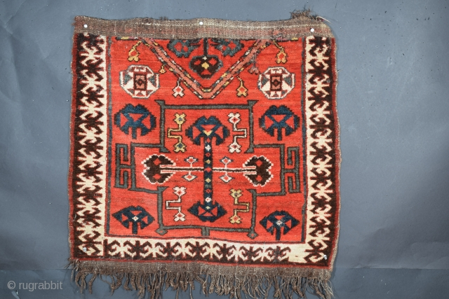 """Kyrgyz bashtyk, Kyrgyzstan, tentatively attributed to the Osh region, 29"""" x 29"""", 73.6 x 73.6 cm (+/-), circa 1925, very good condition with isolated wear to portions of the flatweave ends, excellent  ..."""