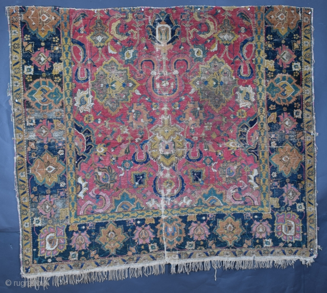 "Isfahan pile rug fragment, second-half of the 17th century, size 63"" x 55"" (+/-), 160 x 134 cm (+/-), field design is in the Shah Abbas tradition, main border design is a  ..."