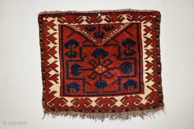 """Kyrgyz bashtyk (bag face), 24"""" x 21"""" (60.9 x 53 cm), this weaving displays the simplicity of design, squarish dimensions, and limited range of color typical of bashtyk of the period, the  ..."""