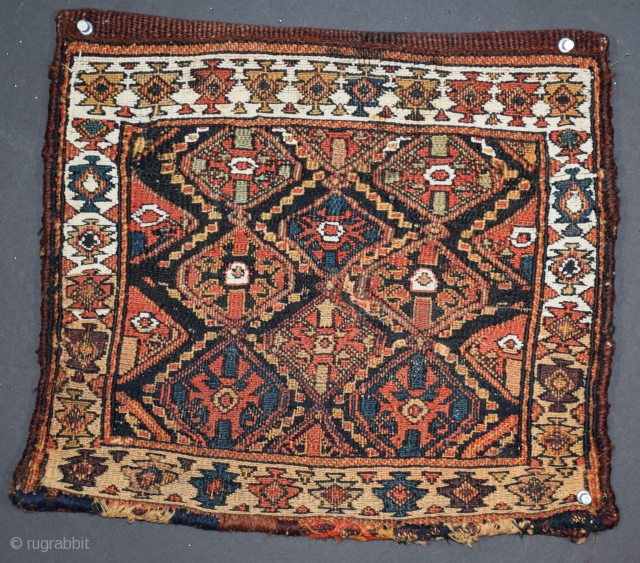 "Shahsavan chanteh (#403), Khamseh region, Northwest Persia, 15"" x 13"", this little piece appears to have been the efforts of a determined but seemingly inexperienced weaver, the unintended result is a charming  ..."