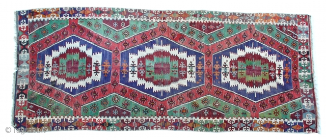 """A very nice Anatolian Kilim, finely woven in excellent condition. 139"""" x 57"""""""
