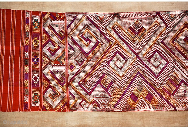 """Tai Daeng Xieng Kuang Silk Embroidery Handwoven and embellished silk on cotton brocade sleeping blanket from Laos. Geometric woven designs with red, purple, green, gold, and ivory brocade.   74"""" L x 27.5"""" W  ..."""