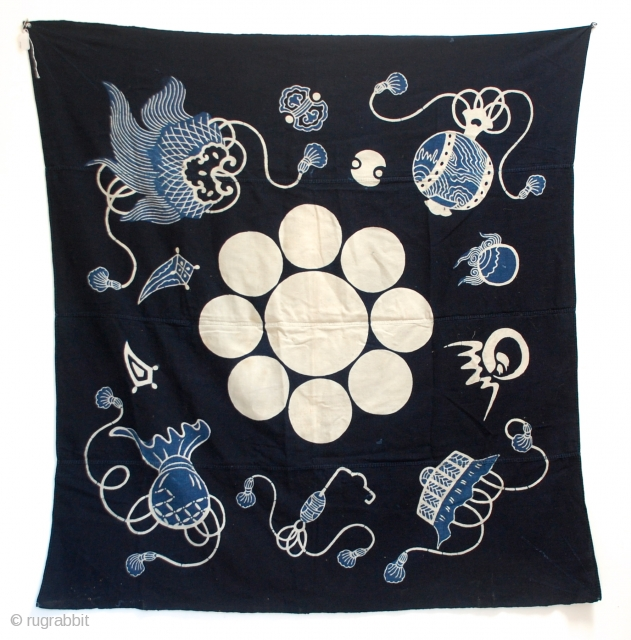 A wonderful large Tsutsugaki Furoshiki indigo dyed hand-spun cotton printed design of a family crest. 