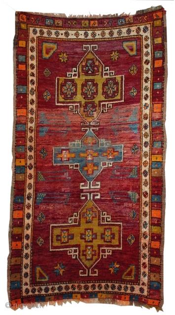 "Turkish Bergama Rug 6'9"" x 3'10"" A classic medallion design on this lovely colorful silky pile rug, woven in central Anatolia."