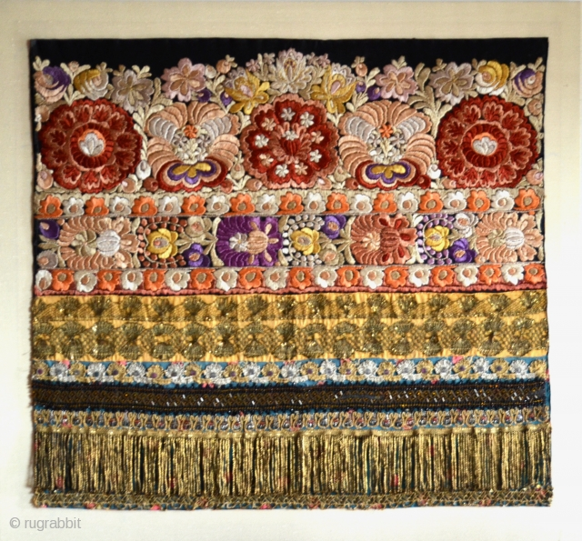 """Hungarian Matyo silk hand-embroidered with gold metallic threads and beads, man's apron, part of a folk costume, early 1900s Mezokovesd, Northern Hungary. Cloth 25"""" x 23"""" In plexi frame."""