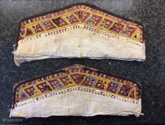 A very rare example of a pair of antique Turkoman / Turkmen Diziyks (Camel Knee covers), made by the Ersari tribe during the  19th century. Camel Knee covers pairs are rare  ...