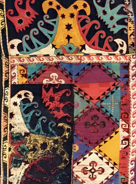 A very interesting example of Antique Uzbek Lakai Silk embroidered Napramach or mafrash panel dating to the 19th Cent. It is the front panel of rectangular shaped bags which would have had  ...