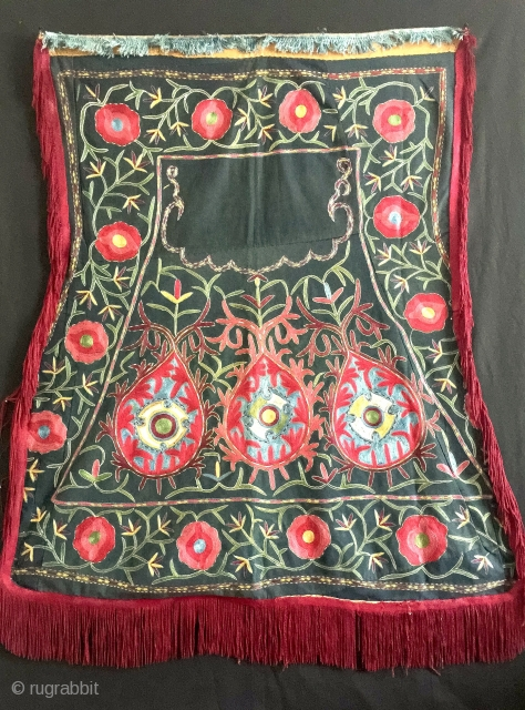 A brilliant and quite rare antique Uzbek Lakai tribe silk embroidered Horse blanket (saddle cover). Dating to the late 19th century, this excellent example is in many respects unlike the typical examples.  ...