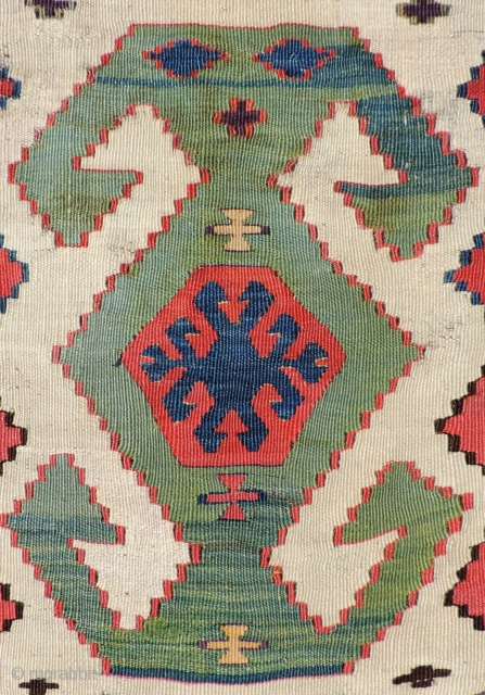 Early white ground Anatolian Kilim that is probably from Central Anatolia. The piece has great colors and the proportions and scale of the piece are right. It's well balanced composition lends a  ...
