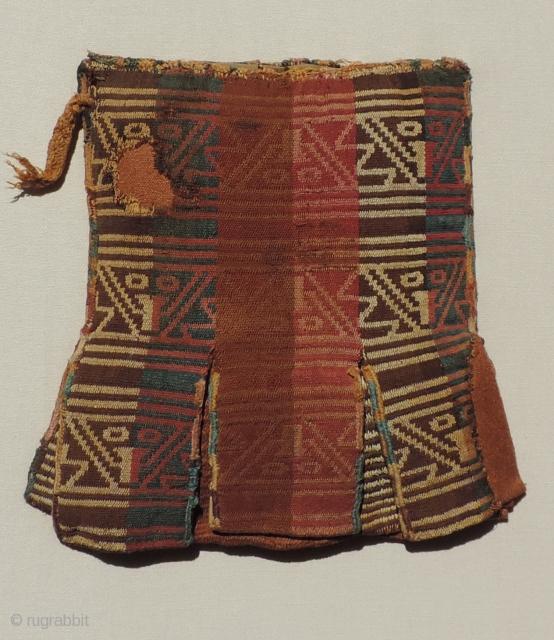 Pre-Columbian Coca Bag.  Before A.D. 1000.  Seven pockets.  Mounted.