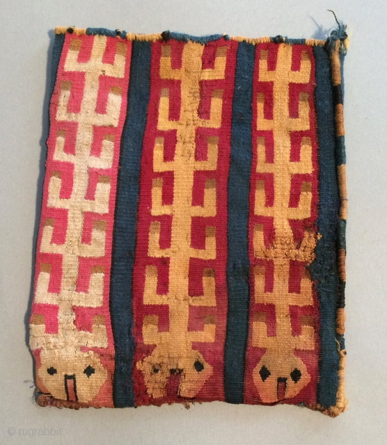 Pre-Columbian Bag. A.D. 400 - 800. This textile displays a highly unusual image that is reminiscent of fish bones.  The indigo blue is beautiful and uncommon as a ground color.   ...