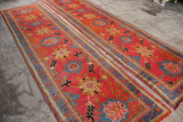 "Pair of antique NARROW Oushak runners, each 3'1""-3'2"" x 11'7"" in full pile, no repairs, with lovely colours. One is missing a couple of rows at one end only. That's 23' of  ..."