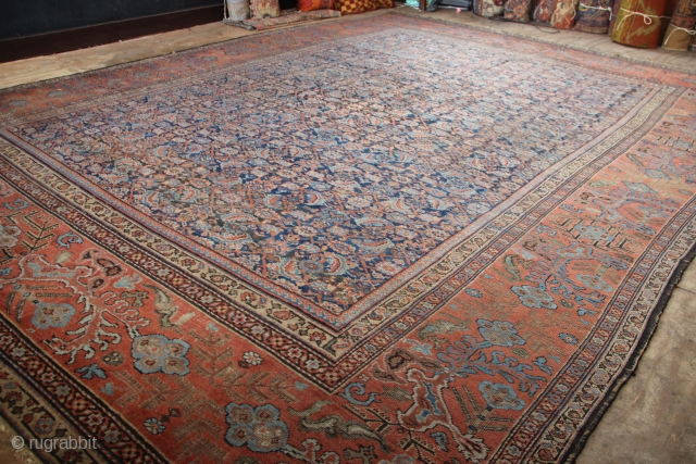 "Mid 19th century Fereghan carpet, Herati design, great border. 11'3"" x 15'4""