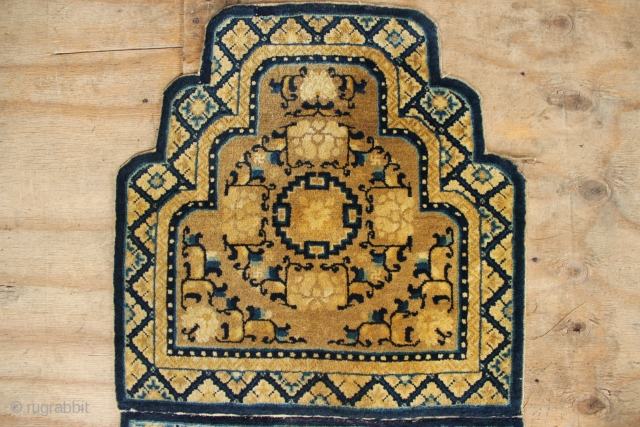 """Pair of Chinese throne back covers, joined together, 19th century. 2'5"""" x 4'9"""" / 72 x 144cm. Excellent condition, full pile but with a couple of small patches to the plain navy  ..."""