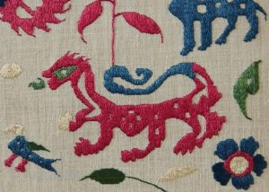 early 18th century Epirus embroideries, mounted.