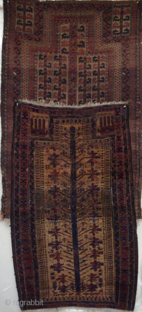 Two rare antique Baluch prayer rugs