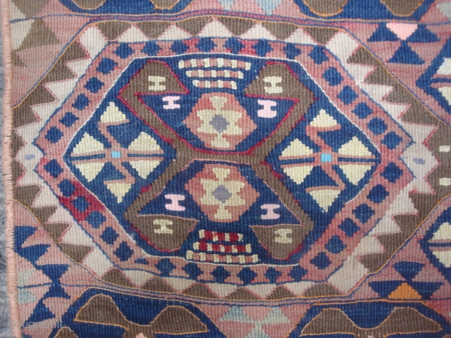 "East Anatolian long kilim strip, 2'8"" x 8'1"".Interesting variety of hexagonal guls. Wool warp and weft, highlights in cotton, metallic thread and silk. Early 20th century folk art, an unusual wall hanging.  ..."