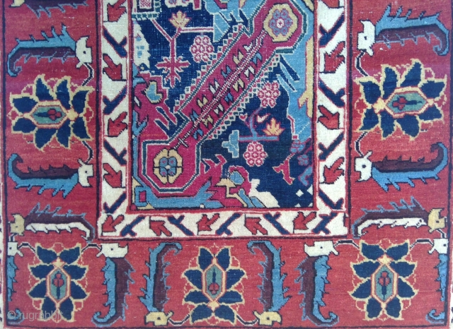 Detail, unique Vagireh with St. Andrew's Cross design, possibly from Heriz or Tabriz, circa 1900. Asymmetrical wool knotting on white cotton warps and white and light blue cotton wefts, 33.5 x 52  ...