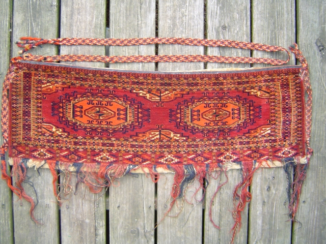 Very fine Tekke Turkmen torba with 2 Salor guls, circa 1900 in excellent condition, complete with multicolor woven braided straps. For other pieces please see http://www.rugrabbit.com/profile/511