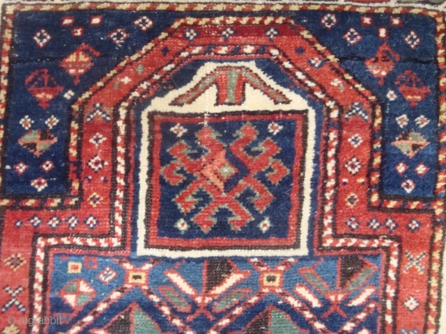 Unusual little Moghan Kazak geometric lattice prayer rug, full pile, very good condition. A huggable teddy bear for a bedside companion.