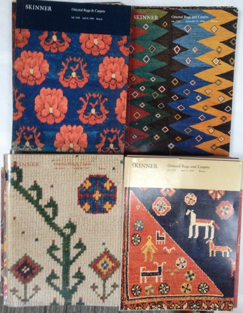 37 Skinner Oriental Rug Catalogues, 1984-1999.  In Good to Very Good condition; a few have prices written in.