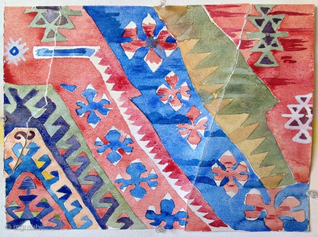 First Anatolian kilim. Watercolor, Arches paper, dechirage, ca. 16 x 12 inches For my other offerings please see https://rugrabbit.com/profile/511