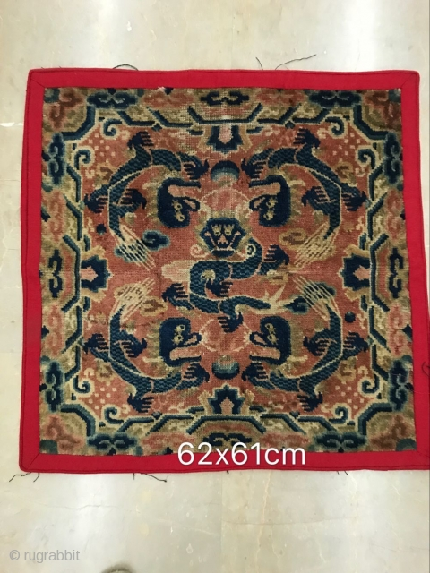The temple rug of alashan, the hui autonomous region of ningxia hui autonomous region, was around 1850, and the size of 62x61cm (not including red cloth side) was welcomed
