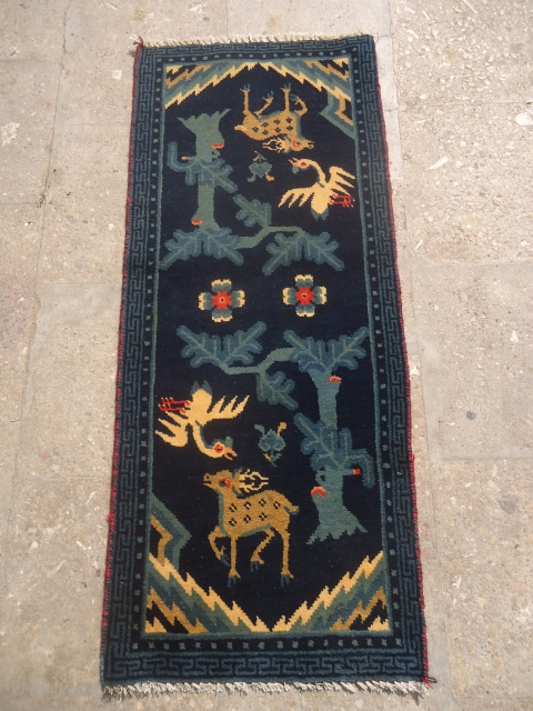 """Beautiful Small Chinese Rug with deer and swan,good colors and nice design.Size 3'5""""*1'5"""".E.mail for more info and pics."""