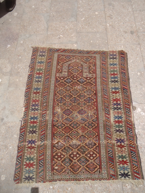 "Caucasian Prayer Rug fragment with great colors and nice design,good weave and age ,as found.Size 3'9""*2'11"".E.mail for more info and pics."