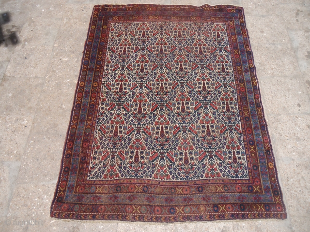 """Ivory Ground Afshar rug with garden design,all good colors fine weave,good age.Size 5'7""""*4'2"""".E.mail for more info and pics."""