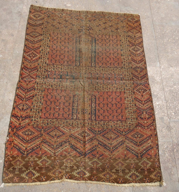"""Turkmen Rug with good colors and as found condition.Fine weave and good colors.Size 4'8*3'4"""".E.mail for more info and pics."""