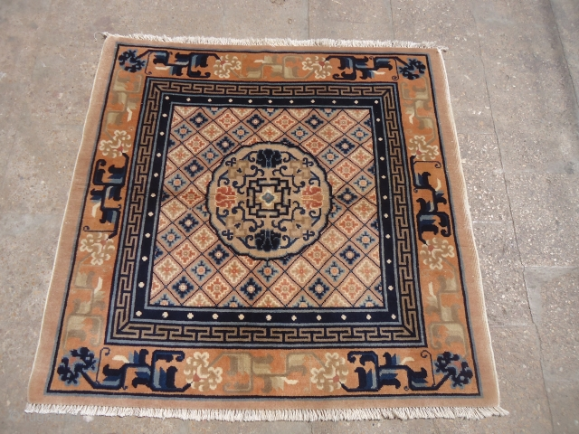 "Beautiful Chinese square rug with good color desigen,all original without any work done.Size 3'11""×3'9"".E.mail for more info and pics."