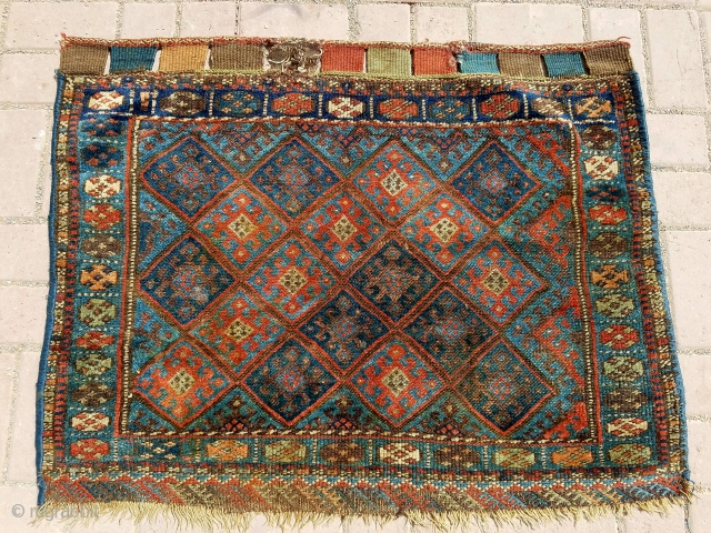 "Colorful juicy Jaf bagface with both sides kilim endings,all good colors, soft shiny wool.Size 3'2*2'6"".E.mail for more info and pics."