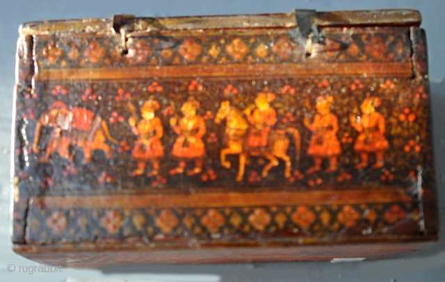 18th c Lacquer on wood   playing card or Ganjefa box from India purchased in India 30 years ago selling from personal collection.