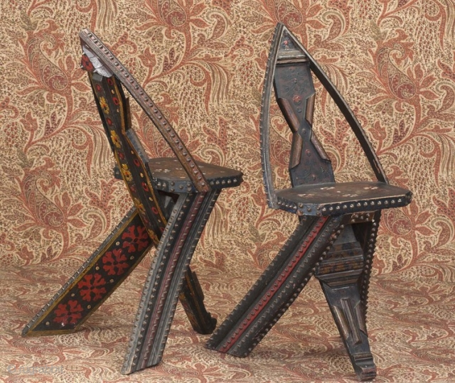 pair of Orientalist  folk art  chairs with incredible decoration and brass studs.Russia  Circa 1900-15 Each is the same but has a variation of painting on the reverse.