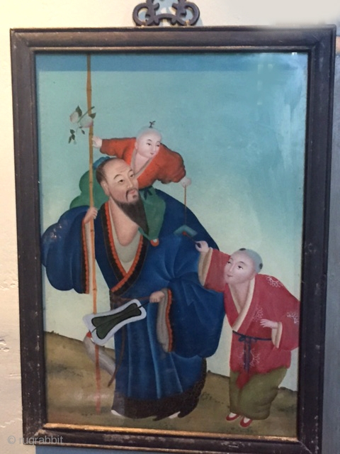 Reverse glass painting in Chinese frame , China early 20th c