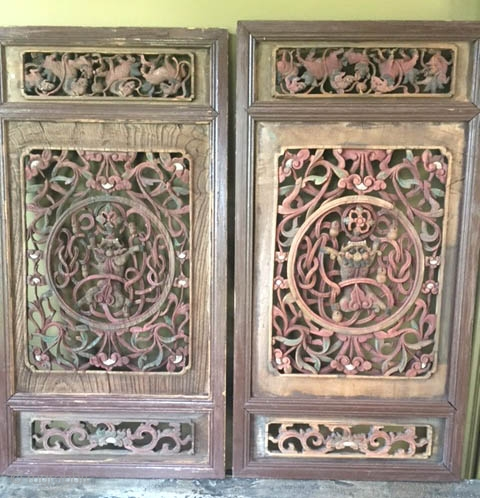 Pair of poly chrome shutters from China 19th c