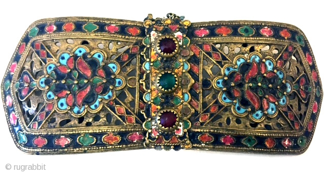 Bronze buckle with pierced work and enameling from western Bulgaria. late 18th, early 19th c wearable . Measures 8 L x 3 W