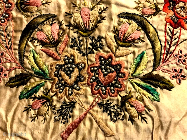 Matzah cover of silk with silk embroidery and glass seed pearls. Dated 1889.  Used for the festival of the Matzah (Pesach) from Hungary. The three inscribed tabs demarcate the three matzohs  ...
