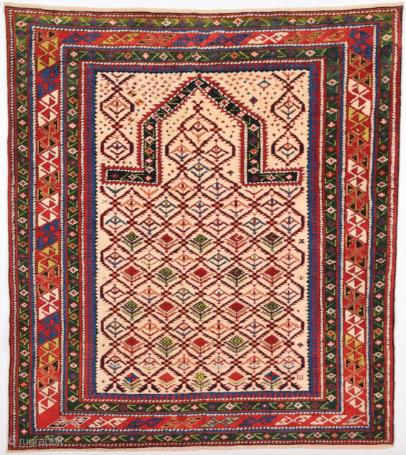 Very Fine Shirvan Prayer Rug Circa 1870 size 117 x 130 cm It's in Perfect Condition and has fufll pile on it.