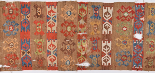 An Unusual Colorful Central Anatolian Kilim Circa 1800's Size 80 x 375 Cm