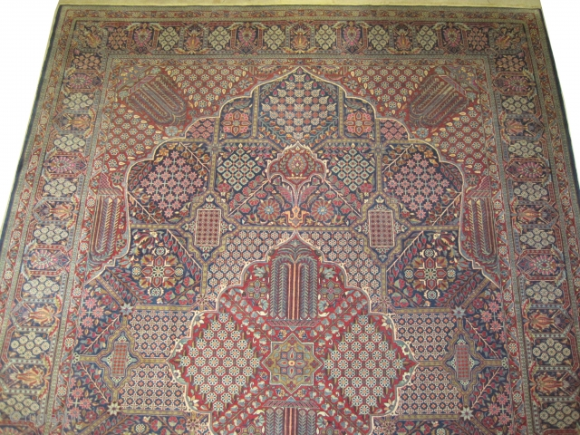 """Mohtashem-Kashan Persian, knotted circa in 1918, antique, collector's item, 372 x 267 (cm) 12' 2"""" x 8' 9""""  carpet ID: P-802 The knots are hand spun lamb wool, high pile, the background  ..."""