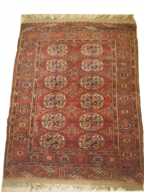 Tekke Boukhara, knotted circa in 1905, antique 88 x 112 cm, carpet ID: LUB-5